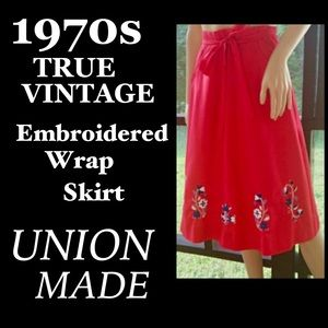 ▪️VTG▪️UNION MADE▪️Embroidered Wrap Pocket Skirt